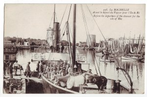 P1242 1920 used postcard harbor departure ship steamer for isle of rhe, france