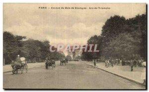 Paris Avenue du Bois de Boulogne Arc de Triomphe Old Postcard -Carte