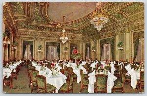 Chicago Illinois~Hotel La Salle~Louis XVI Dining Room~Fancy Chandeliers~c1910