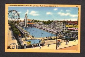 NY Coney Island Amusement Park Pool Ferris Wheel New York City NYC Postcard