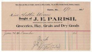 1906-15 Billhead,  J. E. PARISH, Groceries, Hay,  Grain, Clayton, Alabama