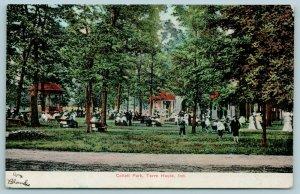 Terre Haute Indiana~Boys Play at Collett Park~Ladies Stroll Past Gazebos~1911