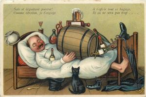 Beer alcohol sleeping drunk man old comic litho postcard black cat caricatures