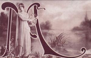Large Letter Initial M Art Nouveau Lady (actress) with Harp , 00-10s