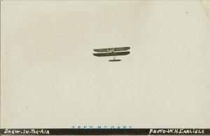 Circa-1910 Carlisle Pioneer Aviation Real Photo PC: Drew Biplane Airborne