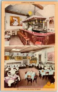 Los Angeles CA Postcard CAFÉ CALIENTE 2 Views Olvera Street Linen c1940s Unused