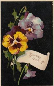 Pansy Flowers Birthday Greeting , 00-10s ; PFB 8500