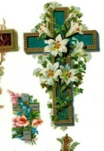 Victorian Die-Cuts 1870's-90's Crosses Flowers Miniatures Lot Of 14 Fab! X66