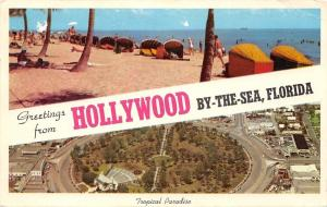 Hollywood By The Sea Florida~Banner Greetings~Beach Cabanas~Aerial View~1965 PC