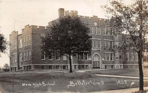 F14/ Bellefontaine Ohio RPPC Postcard 1908 New High School 4