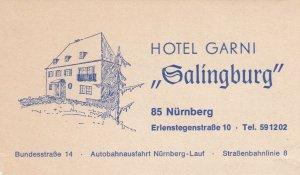 Germany Nuernberg Hotel Garni Galingburg Vintage Luggage Label sk3883