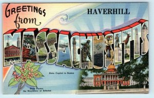 Large Letter Linen  HAVERHILL, MASSACHUSETTS ~ MA ca 1940s Tichnor Postcard