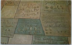 Hollywood, CA Postcard Grauman's Chinese Theatre Footprints Shirley Temple 1960s