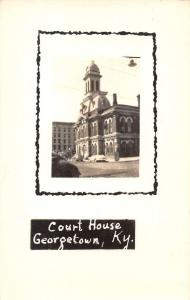 Georgetown Kentucky birds eye view local court house real photo pc Z12053