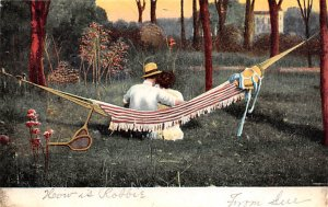 Tennis Post Card A Silent Confession Man and Woman in Hammock 1907