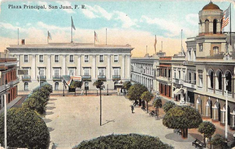 San Juan Puerto Rico Plaza Principal Scenic View Antique Postcard J59229