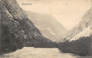 Naerodalen Norway~Narrow Valley~1908 B&W Postcard