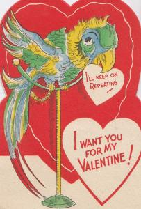 Parrott Repeating I Love You 1950s Valentine Card