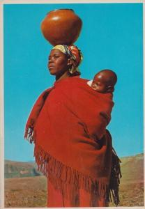 Lesotho African Lady Balancing Walk With Babe Clay Pot Africa Postcard