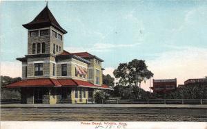 D37/ Railroad Depot Station Postcard c1910 Wichita Kansas Frisco Depot 4