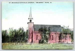 Ryan Iowa~St Michaels Catholic Church~Belmont~Side View~WH Ward Druggist~1911