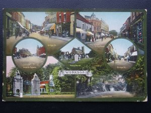 Nottingham WORKSOP 7 Image Multiview c1912 Postcard by Jackson & Son