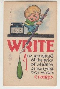 P2209, 1914 comic postcard ink jar pen write are you afraid price stamps etc