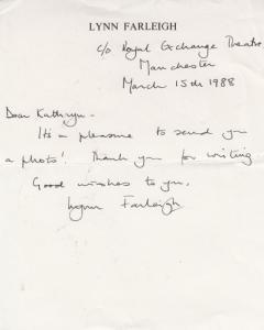 Lynn Farleigh Hand Written Signed Private Letter