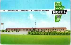 RICHMOND, IN Indiana    CITY VIEW MOTEL  HWY 40     c1950s   Roadside  Postcard