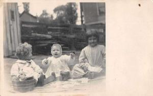 Children and Babies Playing Cards Real Photo Antique Postcard J80475