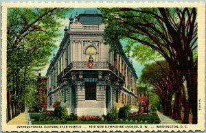 1940s Washington DC Postcard INTERNATIONAL EASTERN STAR TEMPLE Street View Linen