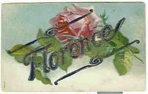 pc6281 postcard Name Florence writing on back, not postally used.
