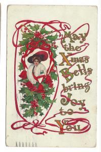 Christmas Pretty Edwardian Lady Holly Ribbon 1911 Postcard
