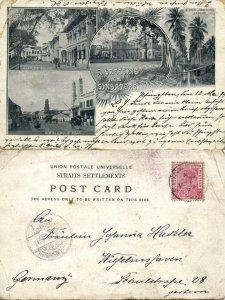 straits, SINGAPORE, Raffles Square, North Bridge Road, Museum (1899) Postcard