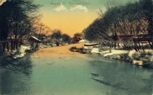 Newark Ohio~Sun Melting Snow Along Raccoon Creek~Bridge Beyond~N 21st St? c1910