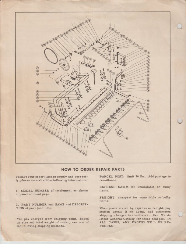 Ward's Sickle Bar Mower Attachment Instructions & Parts List Hoe Plow Chor Trac