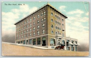 Alton Illinois~Illini Hotel~Vintage Car Parked in Front~Pennant @ Entrance~c1910