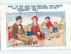 1932 comic BRITISH FAMILY ON BENCH OF SHIP BOAT HL9134