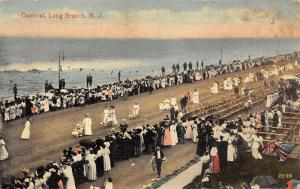 Long Branch New Jersey~Carnival Parade along Ocean Front~Crowd Watches~c1910 Pc