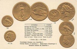 Walter Erhard Stuttgart Germany 1902 U.S. Gold Gold Coins RARE Embossed Postcard