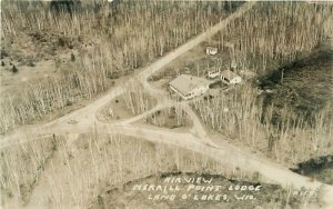 Airview Merrill Point Lodge Land O Lakes Wisconsin 1930s Photo Postcard 7649