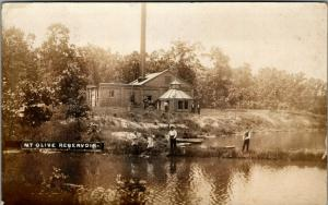 Mt Olive Illinois~Kids Fishing Banks of Reservoir~Water Works Office~1907 RPPC