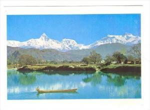 New Hootel Crystal, Pokhara, Nepal, 70-80s  Phewa Lake, Pokhara with Machapuc...