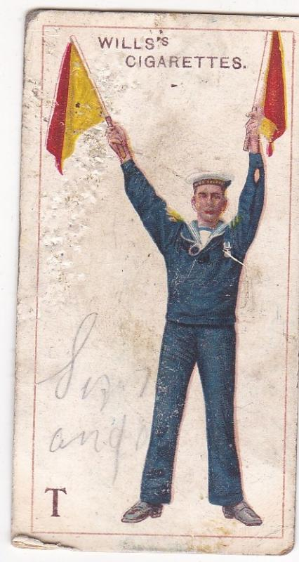 Cigarette Card  Wills Signalling Series No. 20 Letter T