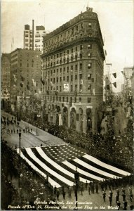 Vtg RPPC San Francisco Portola Festival Parade 1909 Largest Flag in the World