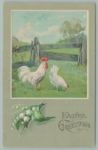 Easter~White Rooster n Hen~Wooden Fence~Lily Of The Valley Below Scene~Germany
