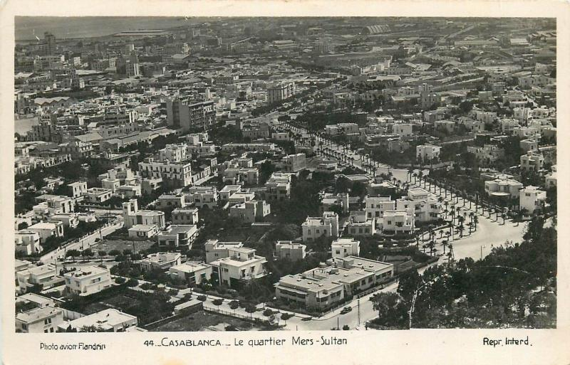 Morocco Casablanca Mers Sultan Quartier Plane Flandrin Real Photo Postcard