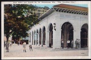 Florida ST. PETERSBURG Post Office and Fourth Street - White Border