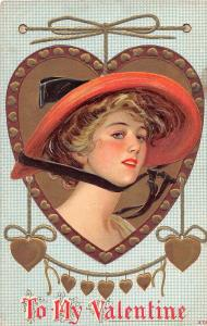 E5/ Valentine's Day Love Holiday Postcard c1910 Woman Large Hat Gold 1