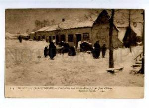 184560 Winter FUNERALS Village by Frank SPENLOVE Vintage PC